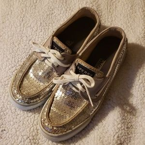 Used silver sequin sperry top sliders